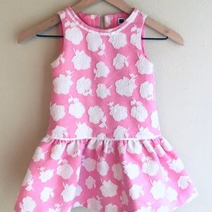 Janie And Jack Pink And White Floral Dress Size 4